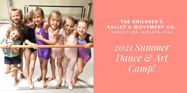 Photo of young ballet students with graphi overlay for The Children's Ballet & Movement Co. in Hadley, MA.