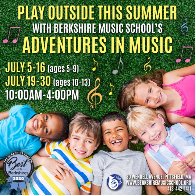 Six children laying in the grass with text overlay for the Berkshire Music School summer program.
