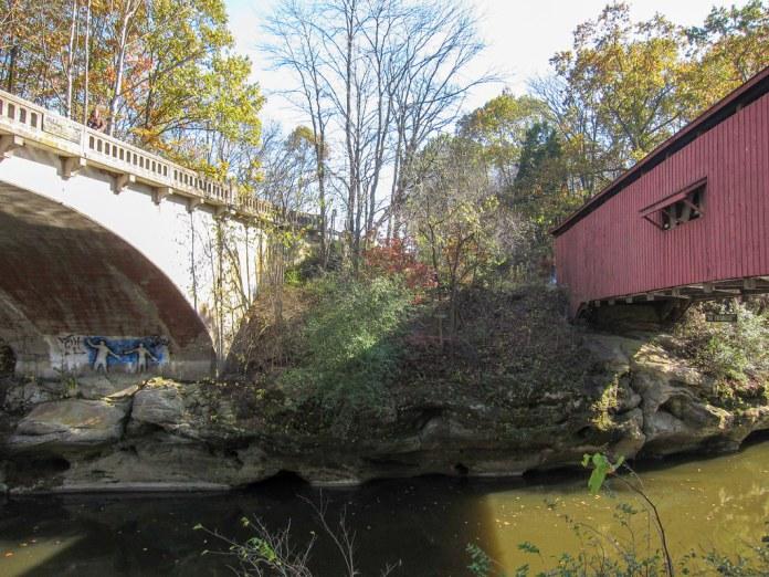 1958 bridge alongside Narrows Covered Bridge