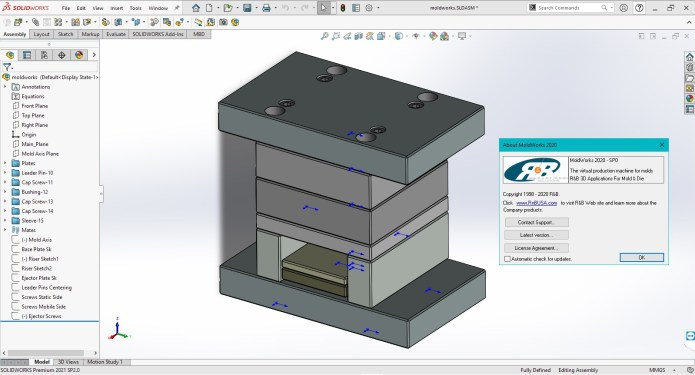 Working with R&B MoldWorks 2020 SP0 for SolidWorks 2015-2021 full