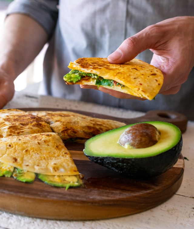 kimchi quesadillas with swiss cheese and avocado
