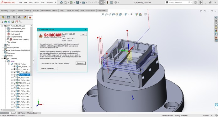 Working with SolidCAM 2020 SP5 for solidworks 2012-2021 full