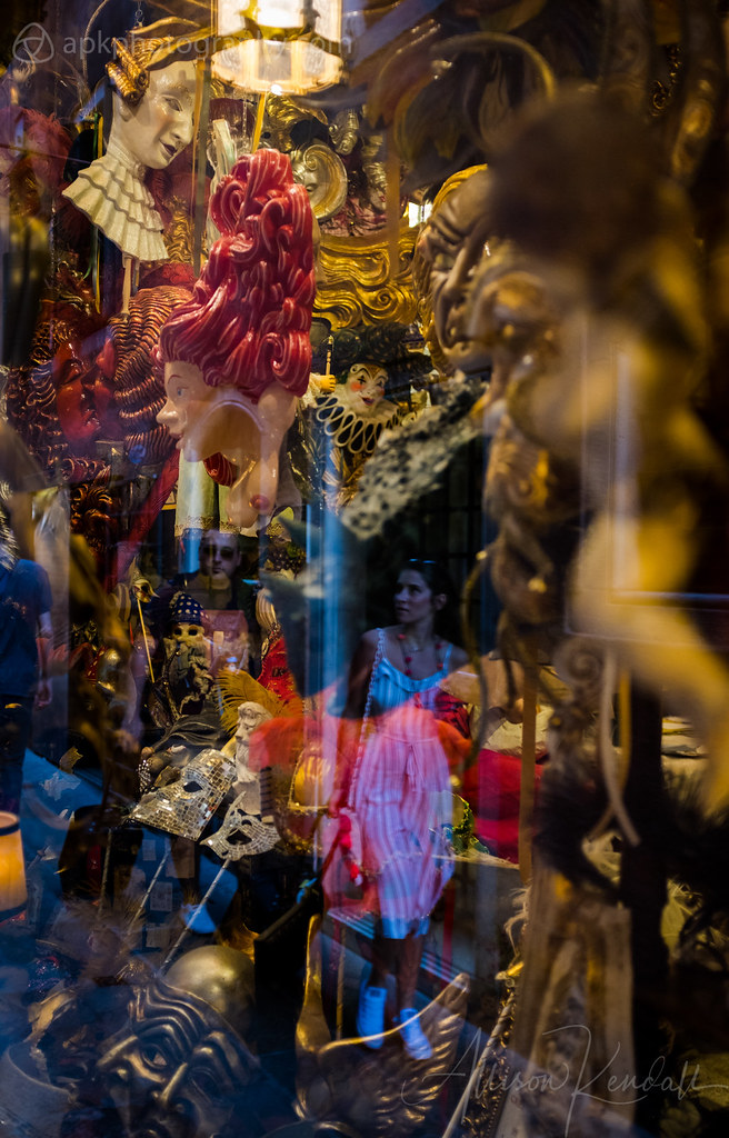 Mask shop window reflection, Venice, Italy