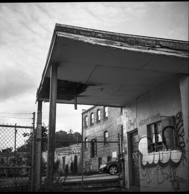 urban decay, architecture, near dusk, river district, Asheville, NC, Ricohflex Dia M, Fomapan 200, Ilford Ilfosol 3 developer, 5.9.21