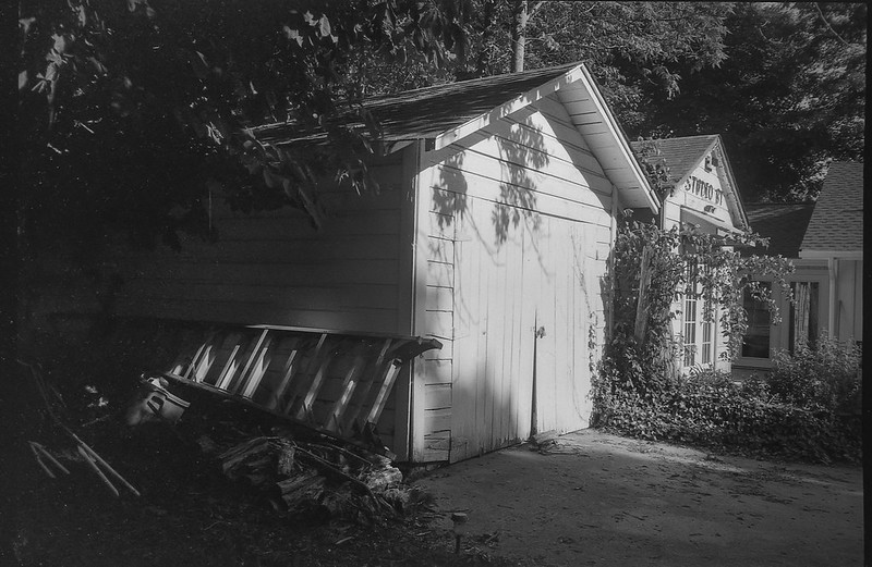 two garages, ladder, near sunset, Asheville, NC, Nikon L35AF2 (One Touch), Arista.Edu 200, Ilfosol 3 developer, Early May, 2021