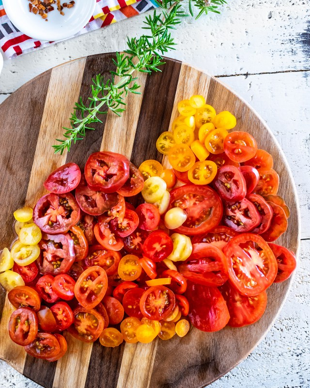 a rainbow of tomatoes