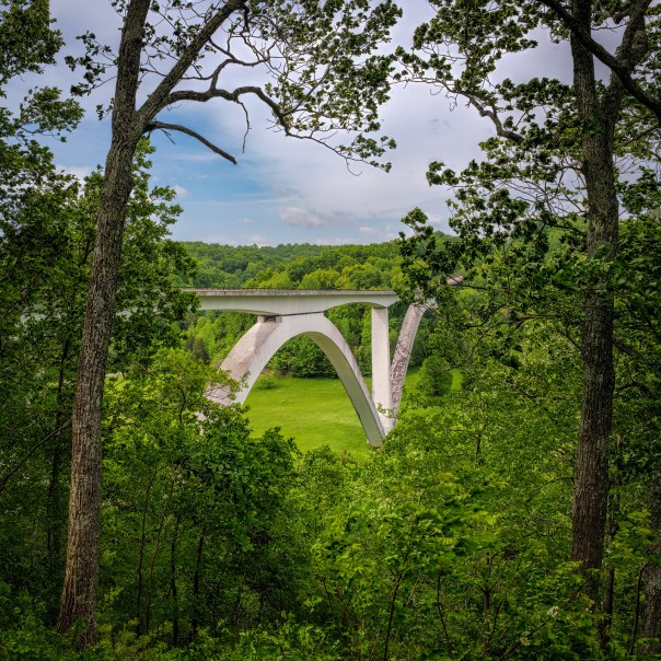 Natchez Trace Parkway bridge, as seen from a nearby overlook on the north side.