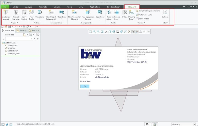Working with BUW AFX + IFX 8.0.0.0 for PTC Creo 8.0 full