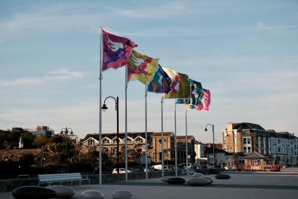 Golowan flags on Penzance Promenade