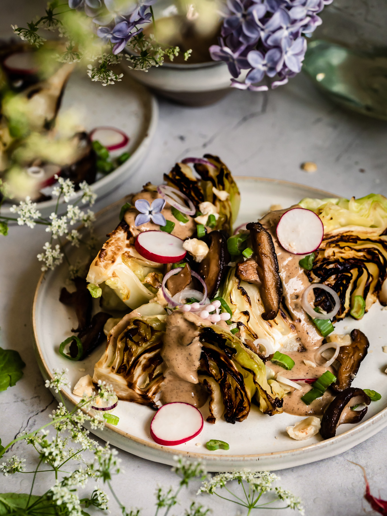 charred cabbage wedges
