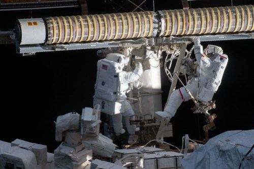 Spacewalkers (from left) Shane Kimbrough and Thomas Pesquet