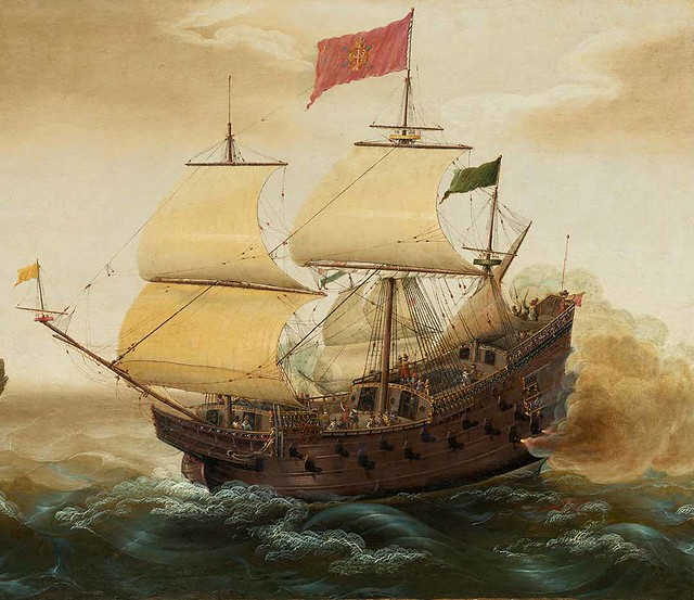 A Naval Encounter between Dutch and Spanish Warships