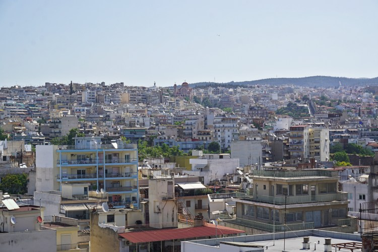 Panorama of Upper Town Thessaloniki, seen from the terrace of the ONOMA Hotel