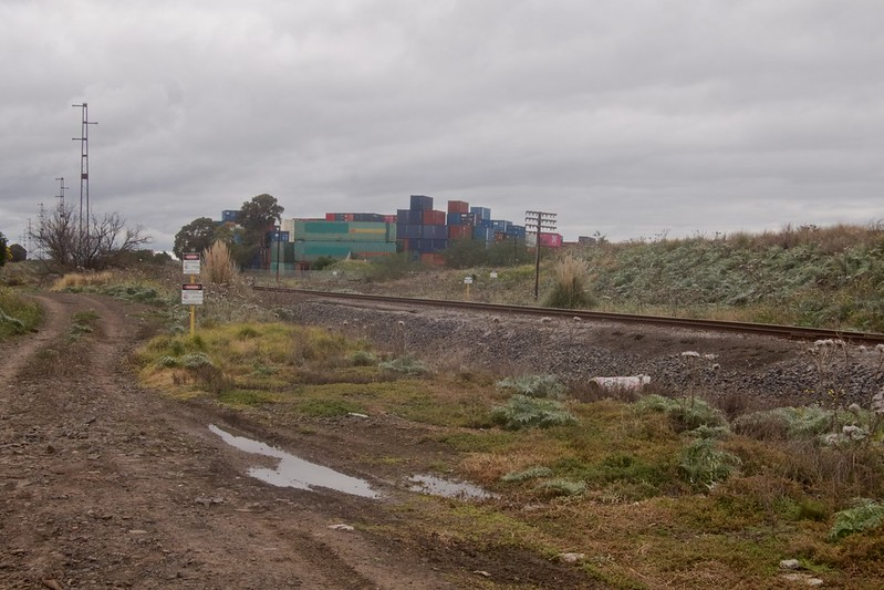 Track along the freight rail siding looking North with Melbourne Container Park in the background 2021-07-23 15:29:28