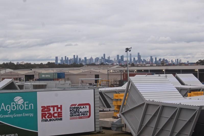 CBD Skyline with Melbourne Grand Prix infrastructure in storage 2021-07-23 15:48:00