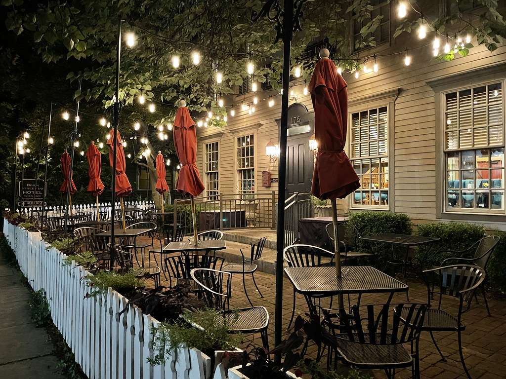 Outdoor seating at Auberge