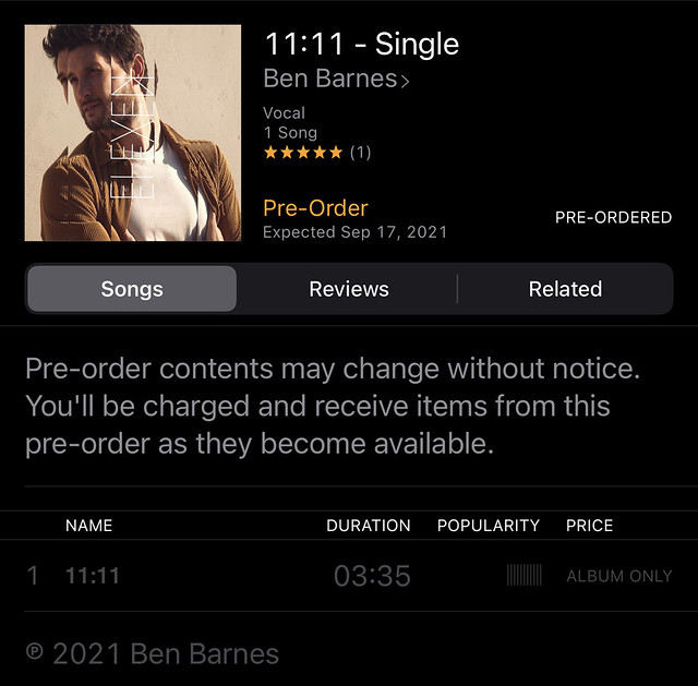 11:11 pre-ordered