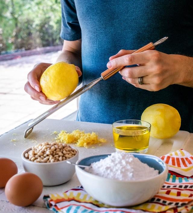 grating fresh lemon zest