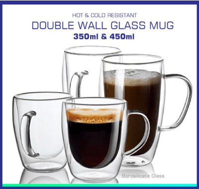 Double Layer Glass Mug