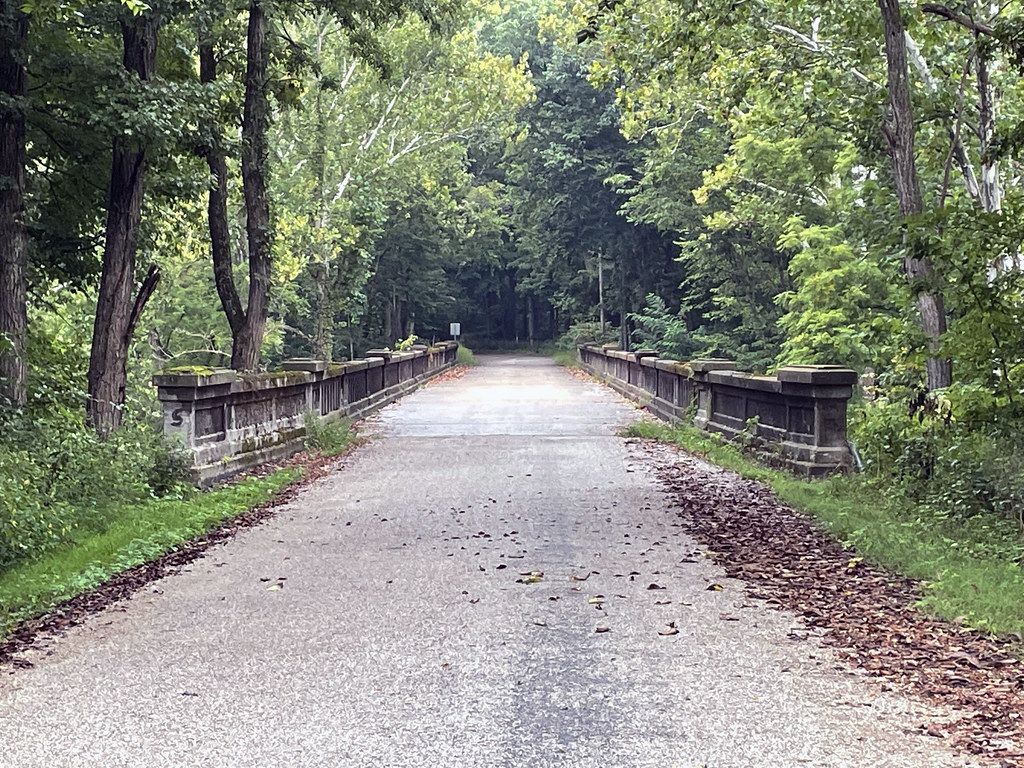 Old US 40 concrete alignment with bridge