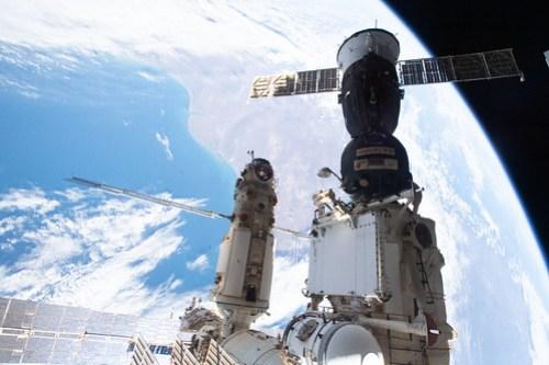 The Soyuz MS-18 crew ship and the Nauka multipurpose laboratory module