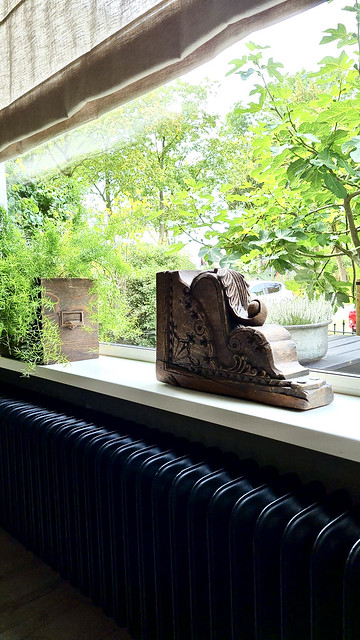 Houten ornament houten postbak met Asparagus plant op vensterbank