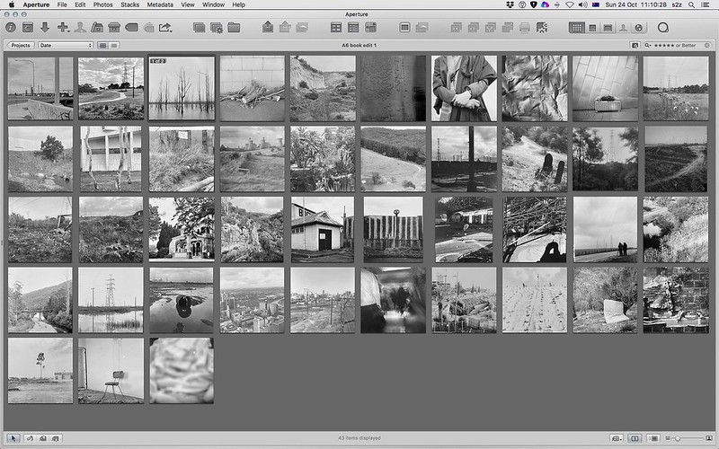 Forty images after several edits, seen here in aperture, in no particular order.