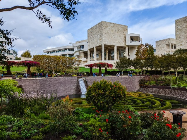 A picture of the gardens at the Getty Museum.