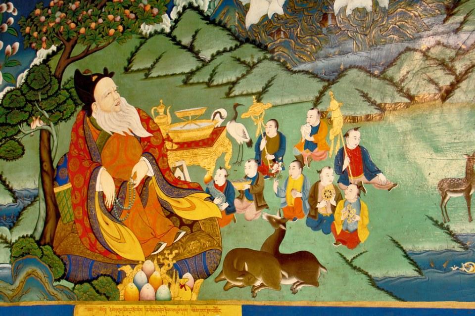 pintura de imagen de buda ciervos y budistas interior templo del Monasterio Tashilhunpo Shigatse Tíbet 12