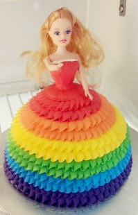 rainbow dress barbie cake