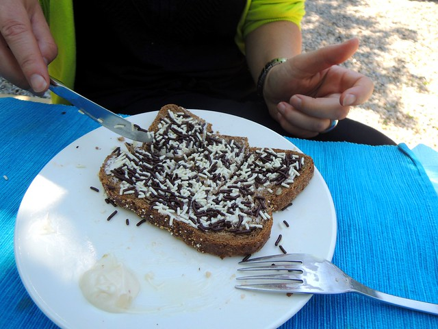 A very typical part of a Dutch breakfast -- bread, butter, and chocolate sprinkles by bryandkeith on flickr
