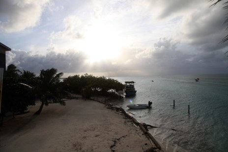 Sunset on Caye Calker at Lazy Lizzard