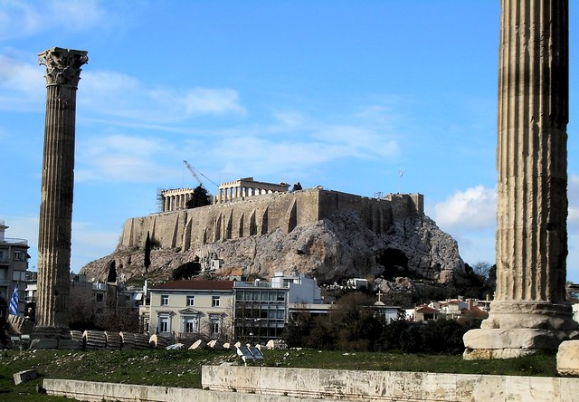 My first view of the Acropolis -- we actually had trouble finding it coming by bicycle from the north! by bryandkeith on flickr