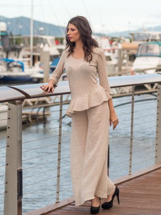 Fire Top in Haven Sand and Free Spirit Flared Pants in Linen Sand