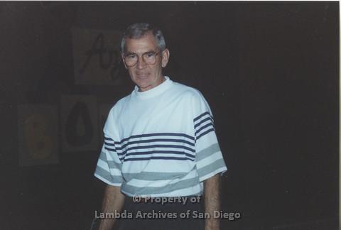 P001.144m.r.t Bowling 1991: Man in a striped shirt
