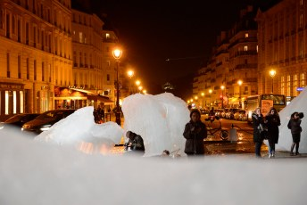 Glacier ice installation 'Ice Watch' at Place du Panthéon, Paris