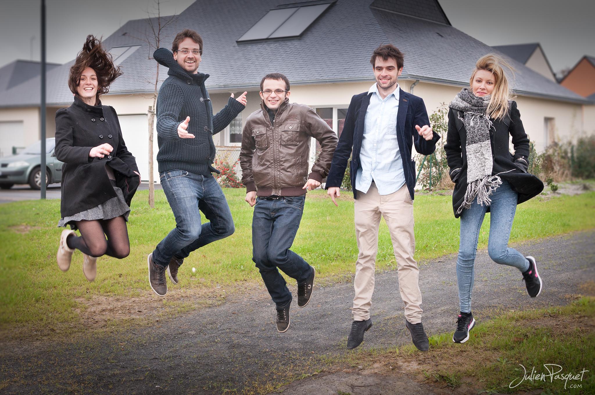 Elise, Luc, Camille, Simon, Thibaud