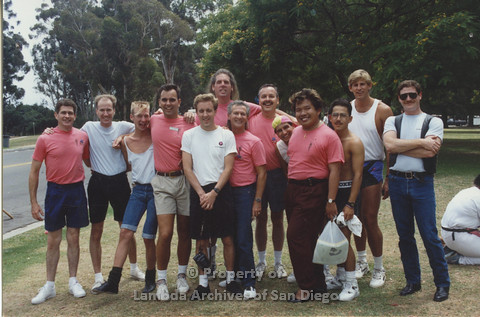 P001.065m.r Pride 1991: AIDS Foundation San Diego group photo