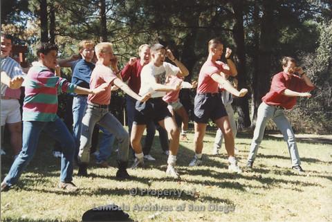P001.198m.r.t Retreat 1991: men in organized activity outdoors