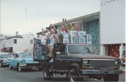 P001.044m.r Pride 1991: AIDS Foundation San Diego Parade Float