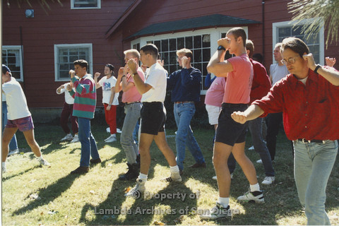 P001.211m.r.t Retreat 1991: group of men in an organized activity