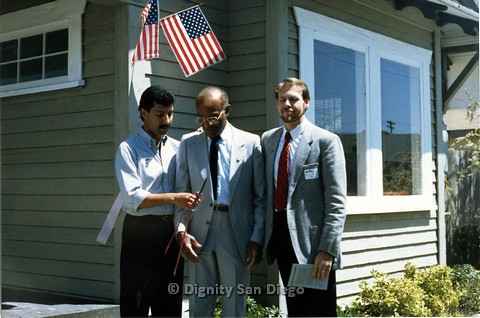 P103.173m.r.t San Diego Dignity Center: Three men standing in front of Center. Left to right: Henry Ramirez, Leon Williams, Bruce Neveu