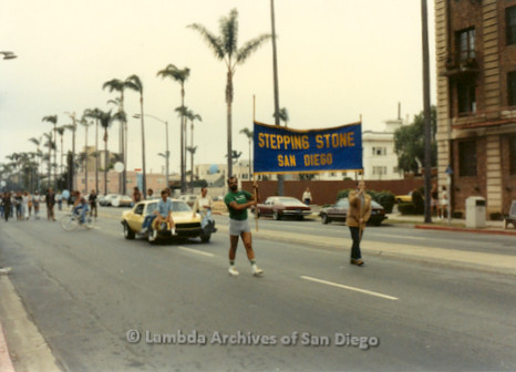 1982 - San Diego Lambda Pride Parade, 'Stepping Stone San Diego' Contingent marching up 6th. avenue toward Hillcrest.