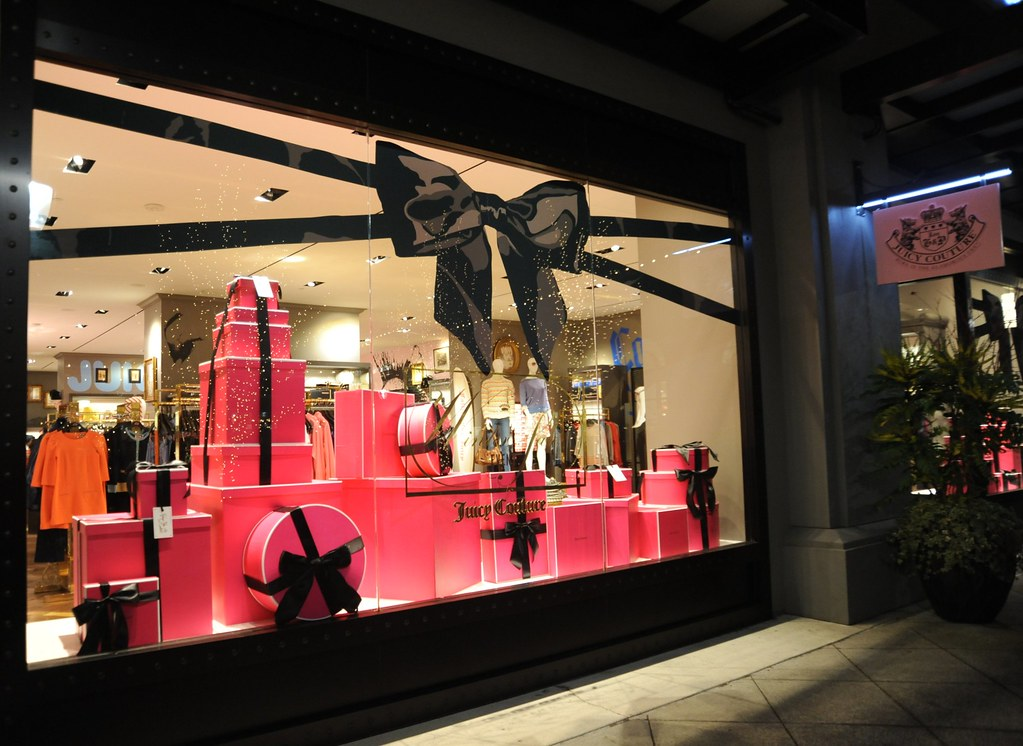 Pink And Black Wrappings Boxes And Ribbons Window Displa