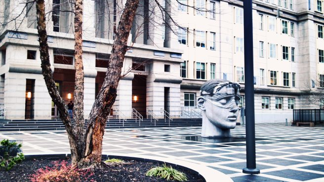 Blind justice and plaza, Federal courthouse, Newark