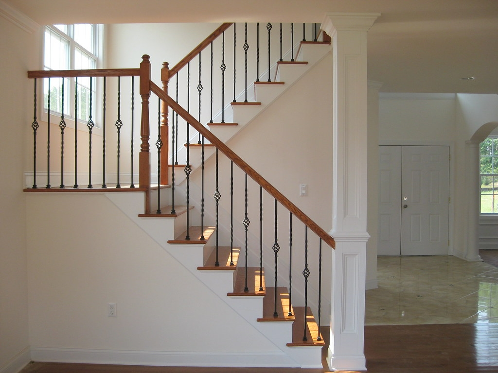 Second Floor Stairs Oak Stained Stairs With Metal Baluster… Flickr | Second Floor Stairs Design | Floor Plan | Hall | 1St Floor Veranda | Outside | Most Beautiful