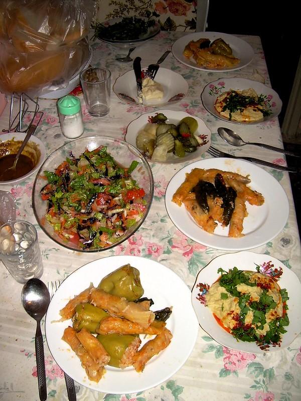 Dolmas and sarma, hummus and turşu --- mmm by bryandkeith on flickr