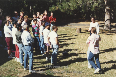 P001.235m.r.t Retreat 1991: men in organized activity outdoors