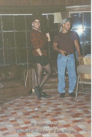 P001.230m.r.t Retreat 1991: 2 men, one dressed in drag