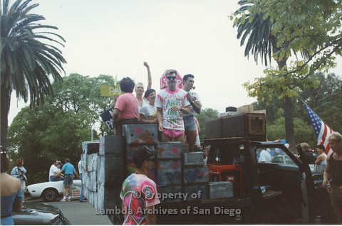 P001.331m.r.t San Diego Pride 1992: people on AIDS Foundation San Diego Pride float